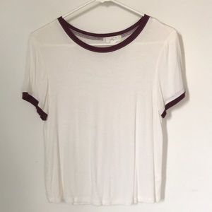 White/maroon tee shirt